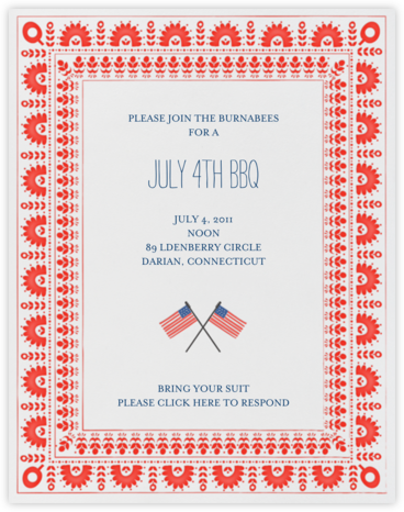 Betsy Ross Handy Work - Red - Mr. Boddington's Studio - Summer Party Invitations
