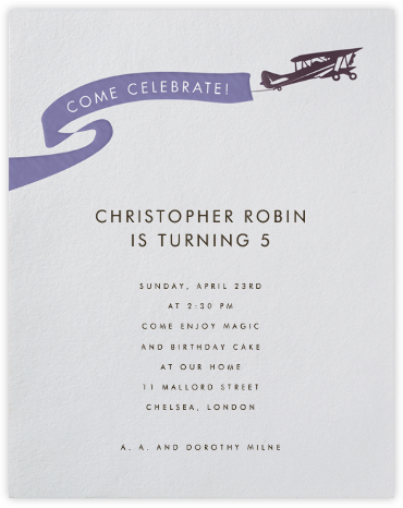 Biplane - Paperless Post - Kids' birthday invitations