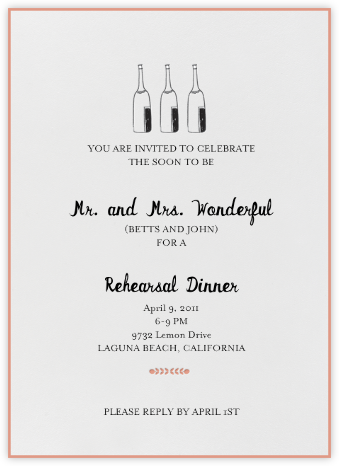 Bubbly for All (Guava) - Mr. Boddington's Studio - Wedding Weekend Invitations