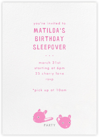 Bunny Slipper - Paperless Post - Kids' birthday invitations