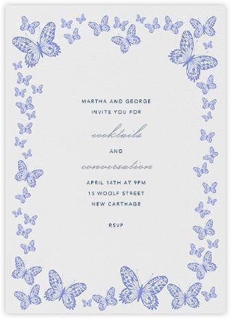 Butterfly Border - Blue - Bernard Maisner - Spring Party Invitations