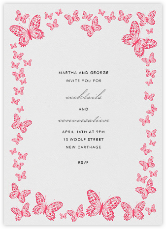 Butterfly Border - Pink - Bernard Maisner - Bridal shower invitations