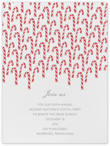 Candy Canes - Linda and Harriett - Holiday party invitations