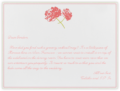 Carnation (Horizontal) - Coral/Chartreuse - Paperless Post - Wedding thank you notes