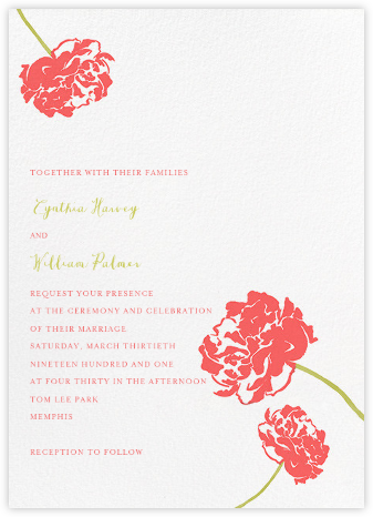 Carnation (Tall) - Coral/Chartreuse - Paperless Post - Wedding Invitations