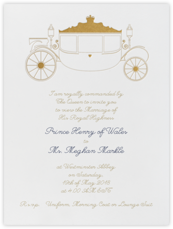 Carriage - White/Gold - Paperless Post - Invitations