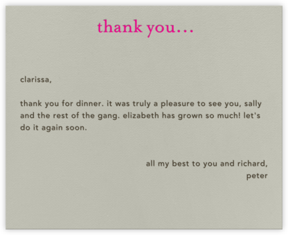 Casual Thanks (Pink) - Paperless Post -