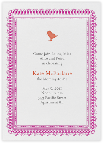Chick Chick Chickie - Coral - Mr. Boddington's Studio - Christening Invitations
