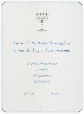 Classic Menorah - Paperless Post - Online Party Invitations