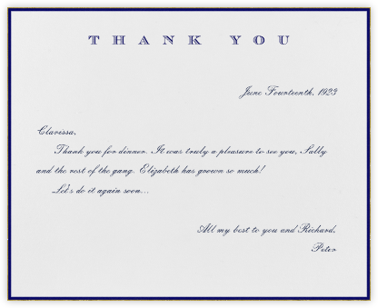 Classic Thanks (Navy) - Paperless Post - Online greeting cards