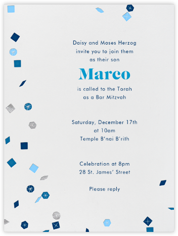 Confetti (Blue) - Paperless Post - Bar and Bat Mitzvah Invitations