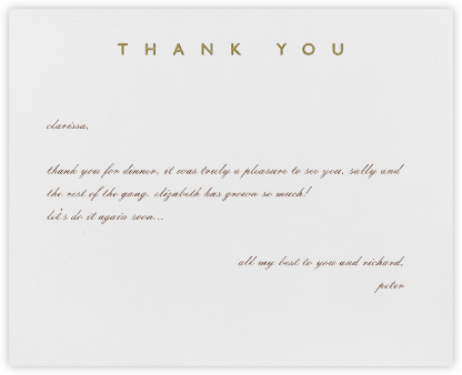 Contemporary Thanks (Gold) - Paperless Post - General thank you notes