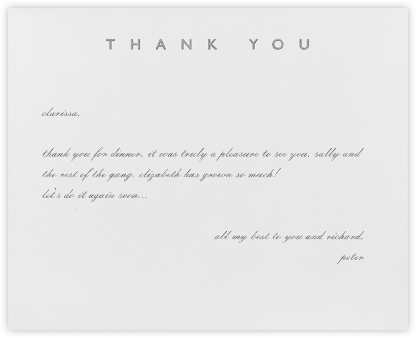Contemporary Thanks (Silver) - Paperless Post -
