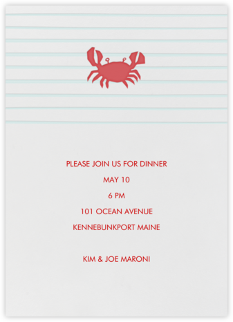 Crab - Linda and Harriett - Invitations for Entertaining
