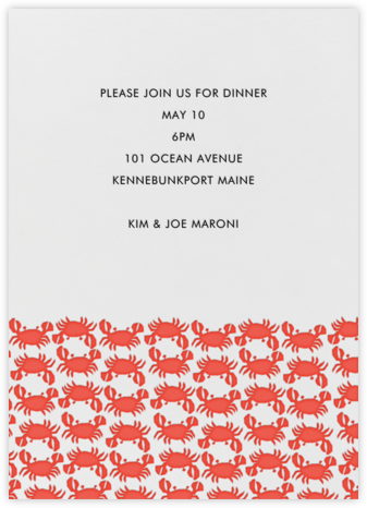 Crab Pattern - Red - Linda and Harriett - Summer entertaining invitations