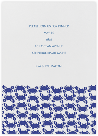 Crab Pattern - Navy - Linda and Harriett - Summer entertaining invitations