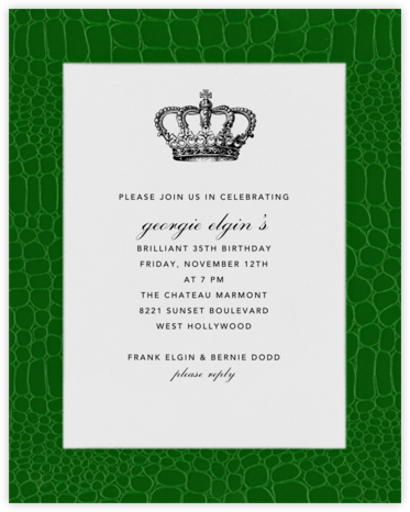 Croc Border - Forest Green - Paperless Post - Adult Birthday Invitations