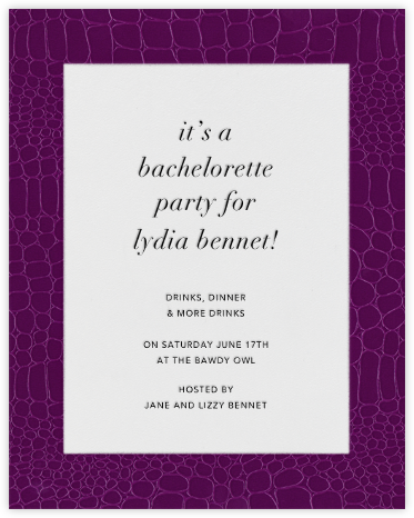 Croc Border - Raspberry - Paperless Post - Bachelorette party invitations