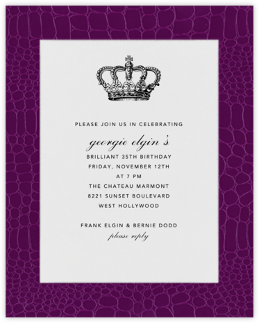 Croc Border - Raspberry - Paperless Post - Adult Birthday Invitations