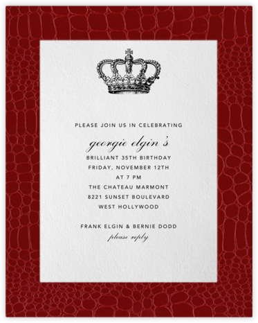 Croc Border - Crimson - Paperless Post - Adult Birthday Invitations