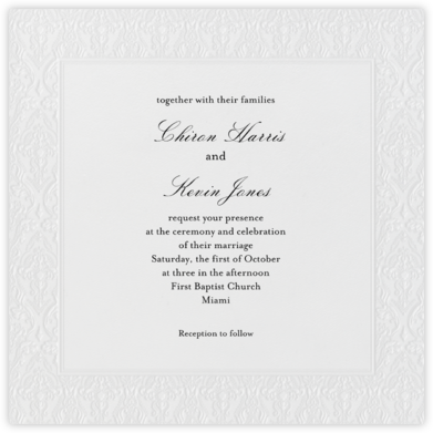 Damask - Ivory Blind Embossed (Border) - Paperless Post - Wedding invitations