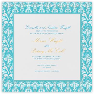 Damask - Ivory with Bondi (Border) - Paperless Post - Wedding Invitations