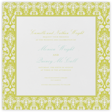 Damask - Ivory with Chartreuse (Border) - Paperless Post - Wedding Invitations