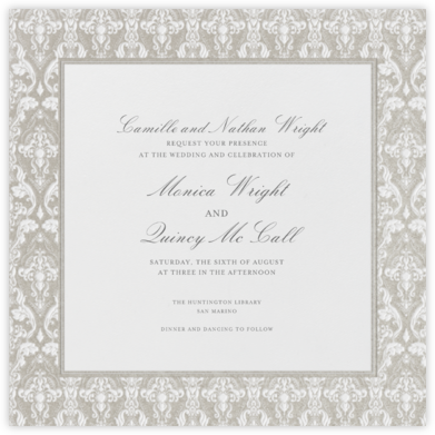 Damask - Ivory with Silver (Border) - Paperless Post - Wedding Invitations