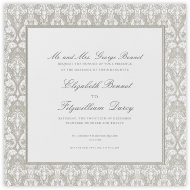 Damask - Ivory with Silver (Border) - Paperless Post -