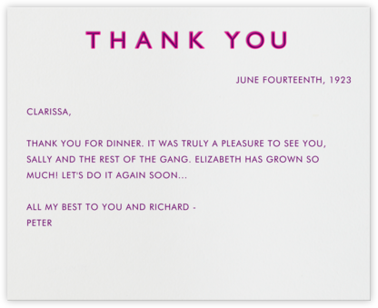 Double Thank You - Pink and Purple - Paperless Post -