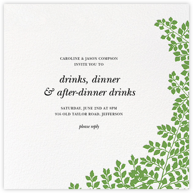 Fern II (Invitation) - Green - Paperless Post - Online Party Invitations