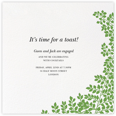 Fern II (Invitation) - Green - Paperless Post - Engagement party invitations