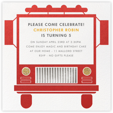 Fire Truck - Paperless Post - Kids' Birthday Invitations