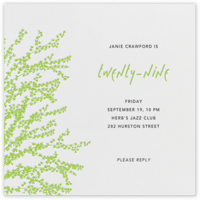 Forsythia - Green - Paperless Post - Adult Birthday Invitations