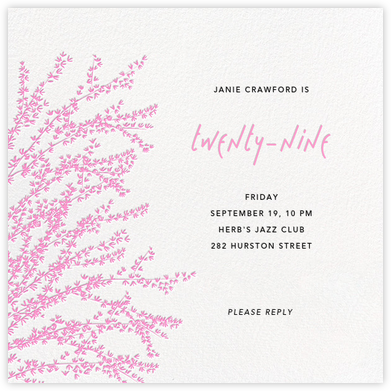 Forsythia - Pink - Paperless Post - Adult Birthday Invitations