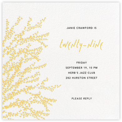 Forsythia - Yellow - Paperless Post - Adult Birthday Invitations