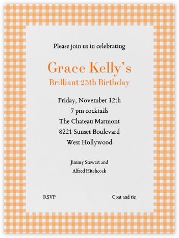 Gingham Apricot - Paperless Post -