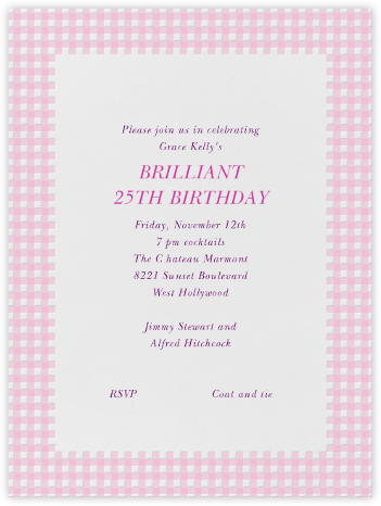 Gingham Pink  - Paperless Post -