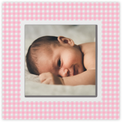 Gingham Photo - Pink - Paperless Post - Birth Announcements