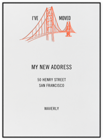 Golden Gate Bridge (Ivory) - Singular - Paperless Post - Moving Announcements