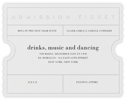 Golden Ticket (Ivory) - Paperless Post - New Year's Eve Invitations