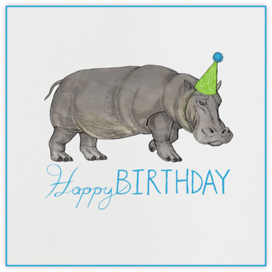 Hippopotamus (Ivory) - Paperless Post - Birthday Cards