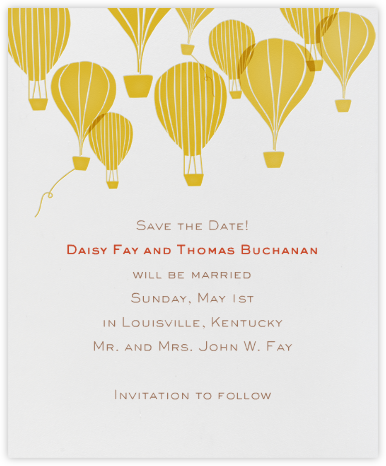 Hot Air Balloon Cluster - White/Mustard - Paperless Post - Save the dates