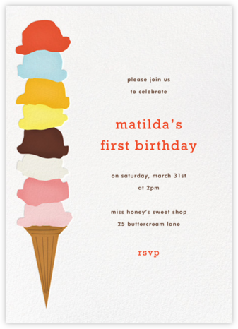 Ice Cream Cone - White - Paperless Post - Birthday invitations
