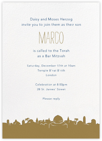 Jerusalem - Paperless Post - Bat and Bar Mitzvah Invitations