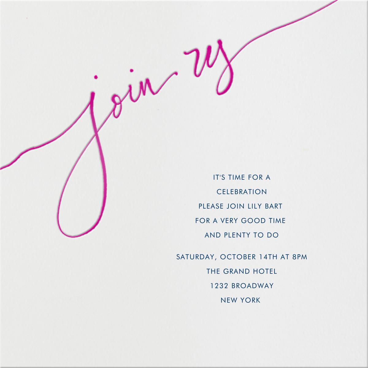 Join us - Pink - Linda and Harriett - Adult birthday invitations