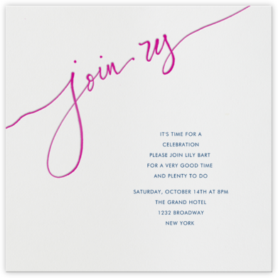 Join us - Pink - Linda and Harriett - Invitations for Parties and Entertaining