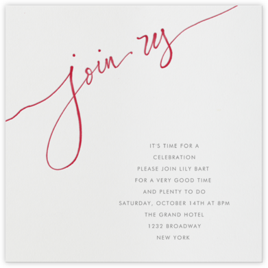 Join us - Red - Linda and Harriett - General Entertaining Invitations