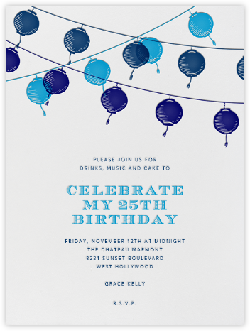 Lanterns - Blue - Paperless Post - Adult Birthday Invitations