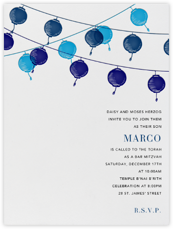 Lanterns - Blue - Paperless Post - Bat and Bar Mitzvah Invitations
